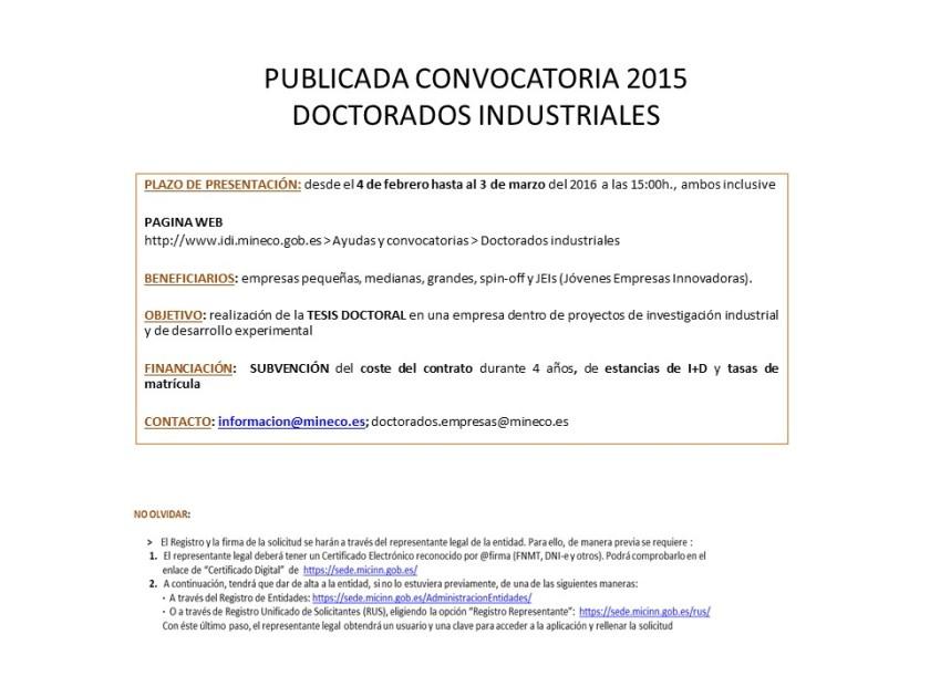 PUBLICADA CONVOCATORIA 2015