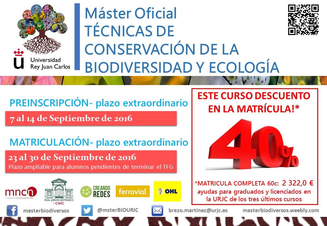 Inscripción en el Máster Oficial en Técnicas de Conservación de la Biodiversidad yEcología