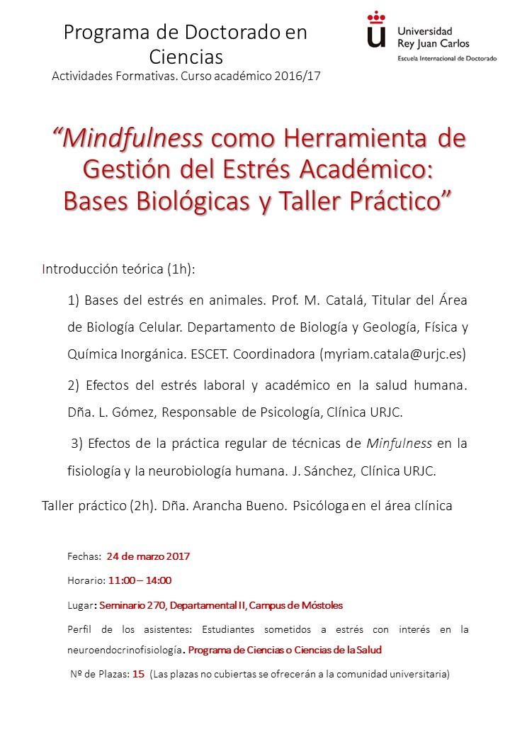 Cartel difusión actividad doctorado mindfulness 16_17