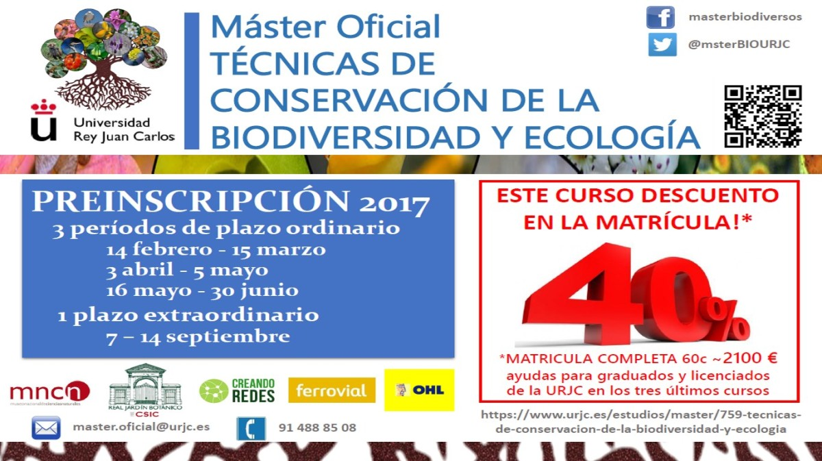 Inscripción en el Máster Oficial de Técnicas de Conservación de la Biodiversidad yEcología