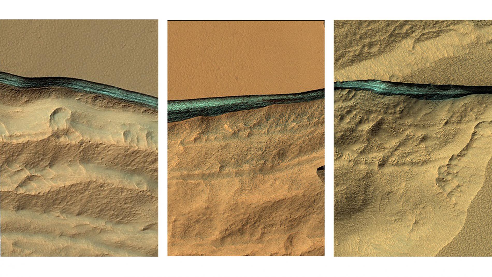 Orillas erosionadas en Marte