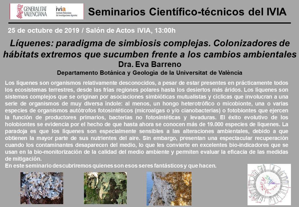 Líquenes: paradigma de simbiosis complejas. Colonizadores de hábitats extremos que sucumben frente a los cambios ambientales. – Conferencia por la Prof. EvaBarreno